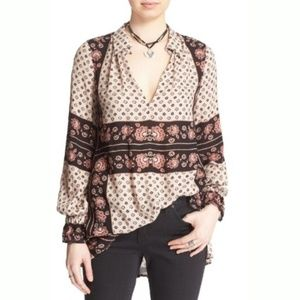 Free People Changing Times Floral Tunic Top Med B9